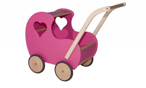 Van Dijk Toys Poppenwagen roze klassiek (open hart)