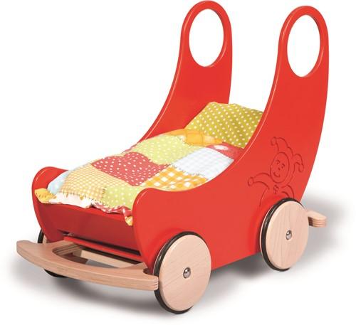 nic houten speelgoed Wiege - Wagen rot