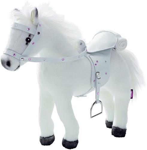 """Götz Boutique, paard met zadel en teugel, """"""""Weisser Blitz"""""""", wit, met geluid, 27 cm"""