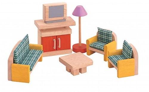 Plan Toys houten poppenhuis meubels woonkamer