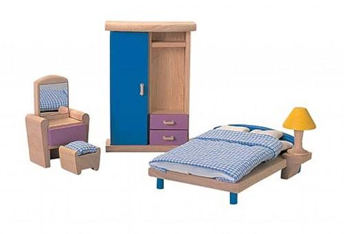 Plan Toys houten poppenhuis meubels slaapkamer - neo