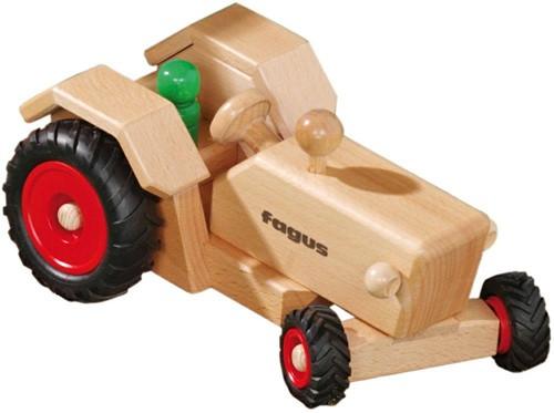 Fagus  houten speelvoertuig Tractor bestuurbaar 24cm