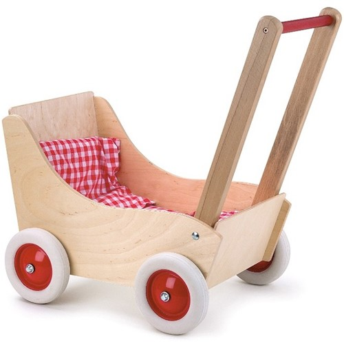 Poppenwagen hout 53x33x52 cm rood/wit ge