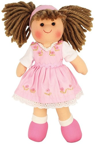 Bigjigs Rose - Brown Hair/Pink Dress