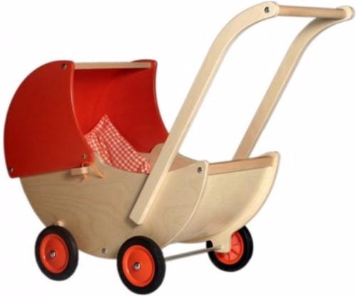 Van Dijk Toys Poppenwagen met vast kap rood
