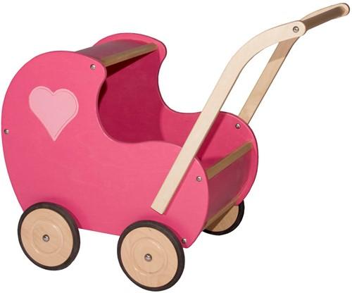 Van Dijk Toys Poppenwagen roze klassiek (dicht hart)