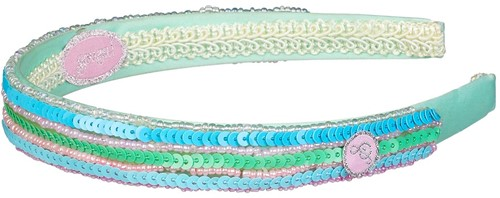 Souza Haarband Dorien, pailletten-Kralen, blauw-mint-smaragd (1 stuk)