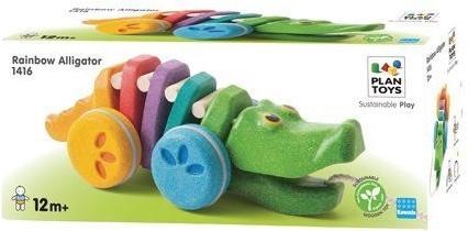 Plan Toys  houten trekfiguur Dancing Alligator Rainbow