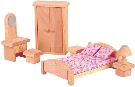 Plan Toys houten poppenhuismeubels klassieke Slaapkamer