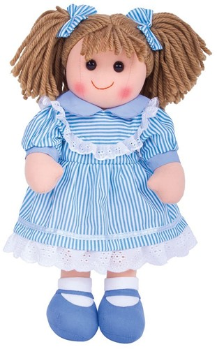 Bigjigs Amelia - Stripey Blue Dress/Light Brown Hair