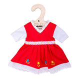 Bigjigs Red Dress with Floral Trim - Small