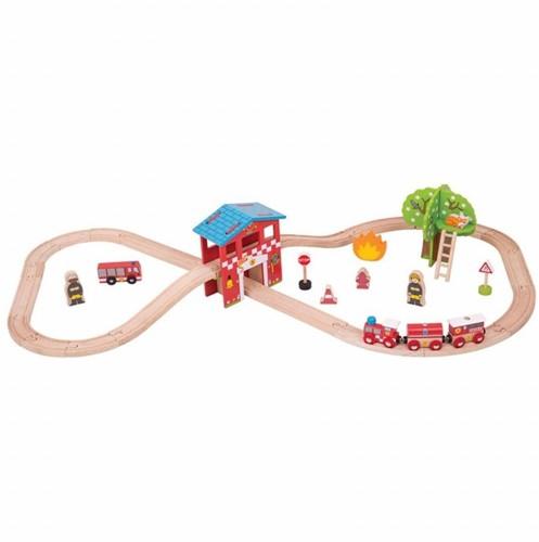 Bigjigs Fire Station Train Set