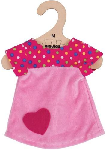 Bigjigs Pink Dress with Spots - Medium
