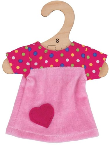 Bigjigs Pink Dress with Spots - Small