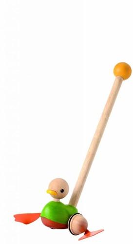 Plan Toys houten duwstok Push along eend